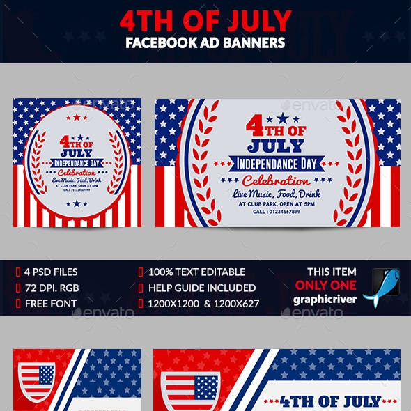 4th of July Facebook Ad Banner-4 Design-Image Included
