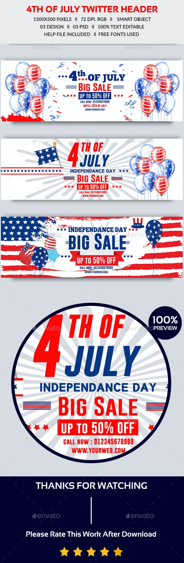 4th of July Sale Twitter Header - Twitter Social Media
