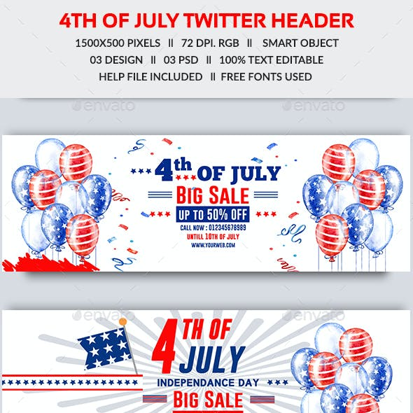 4th of July Sale Twitter Header