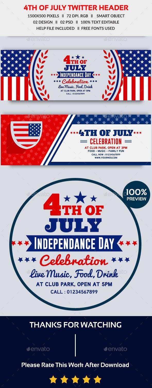 4th of July Twitter Header-2 Design- Image Included - Twitter Social Media