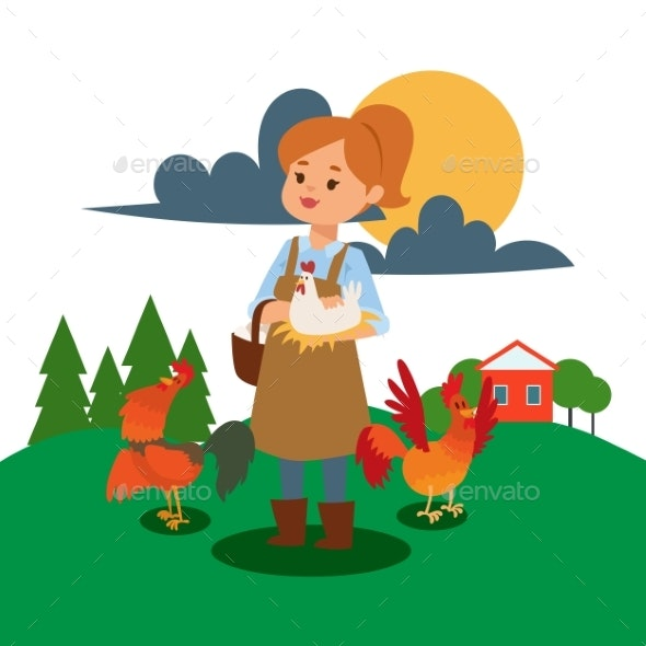 Woman Live and Work on Farm Vector Illustration - Animals Characters