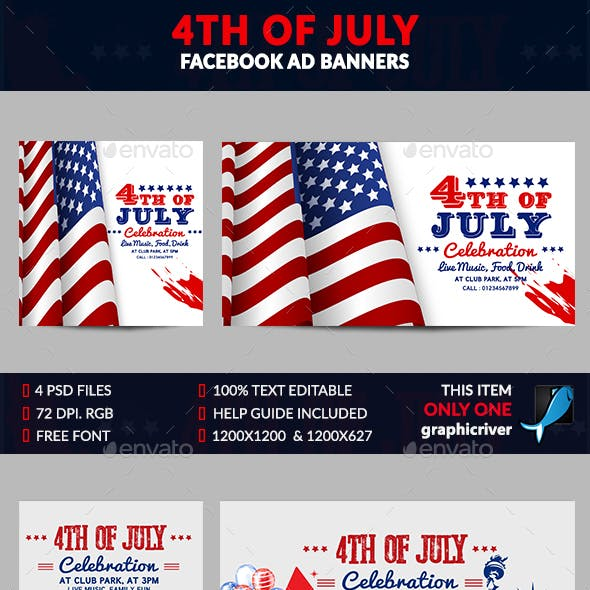 4th of July Facebook Ad Banner