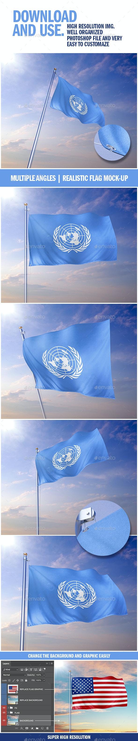 Realistic Flag Mockup - Print Product Mock-Ups