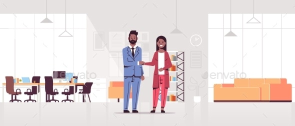 Business Partners Man Woman Handshaking - People Characters