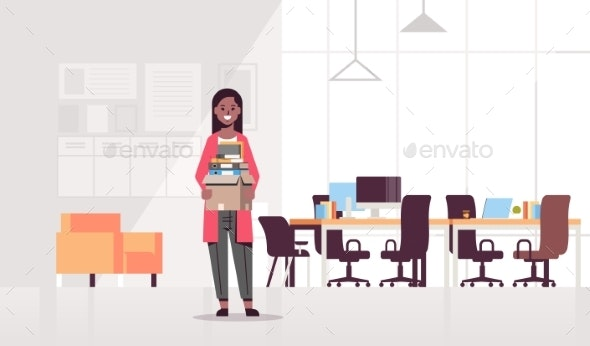 Businesswoman Holding Box - Concepts Business