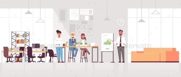 Businessman Presenting Financial Graph - Concepts Business