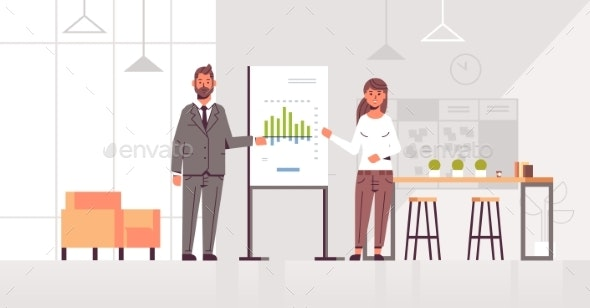 Coworkers Presenting Financial Graph on Flip Chart - Concepts Business