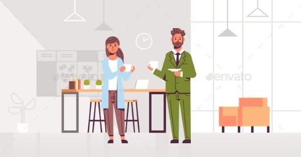 Businesspeople Couple Drinking Cappuccino Business - Concepts Business