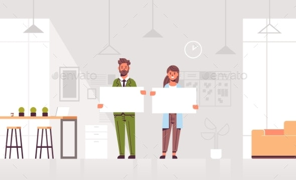 Business People Couple Holding Empty Blank Signs - Concepts Business