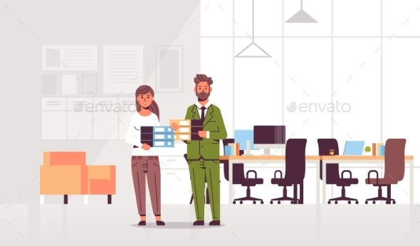 Overworked Businesspeople Man Woman Holding Folder - Concepts Business