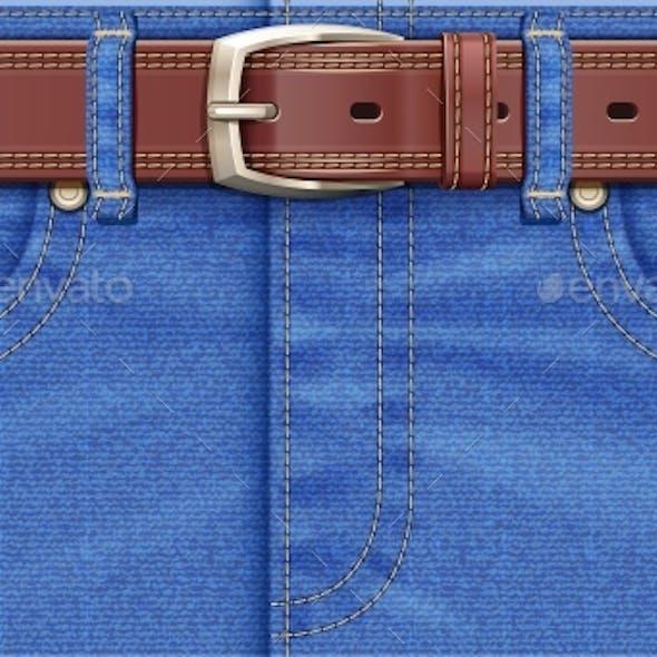 Denim Pants with Leather Belt
