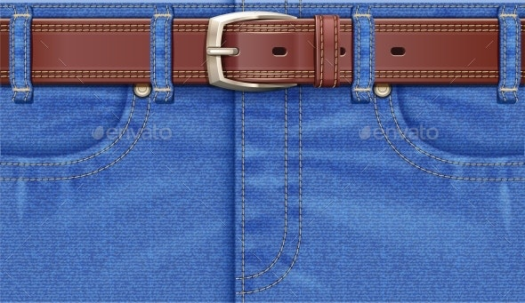 Denim Pants with Leather Belt - Man-made Objects Objects