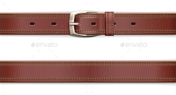 Leather Belt with Metallic Clasp - Man-made Objects Objects