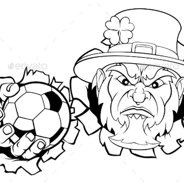 Leprechaun Soccer Mascot Ripping Background