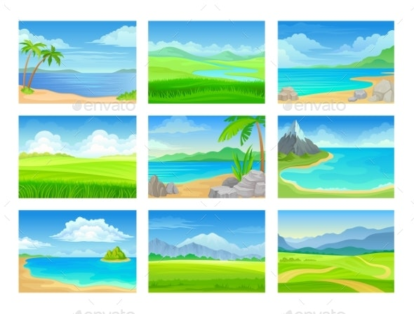 Set of Summer Landscapes - Landscapes Nature