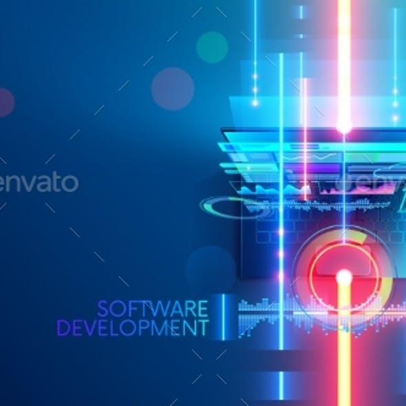Software development concept abstract banner, background. Coding computer programming code on laptop