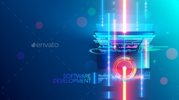 Software development concept abstract banner, background. Coding computer programming code on laptop - Computers Technology