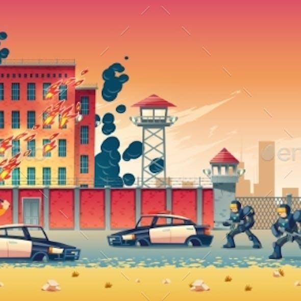 Riot in City Prison Cartoon Vector Concept