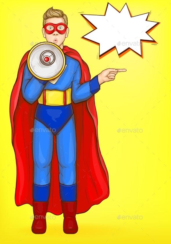 Superman Boy with Loudspeaker - People Characters