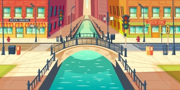 Retro Bridge in City Historical Center Vector - Backgrounds Decorative