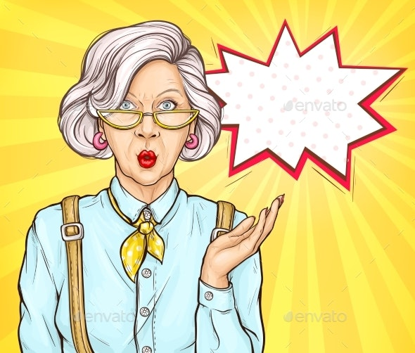 Pop Art Old Woman Surprised Wow Face Expression - People Characters