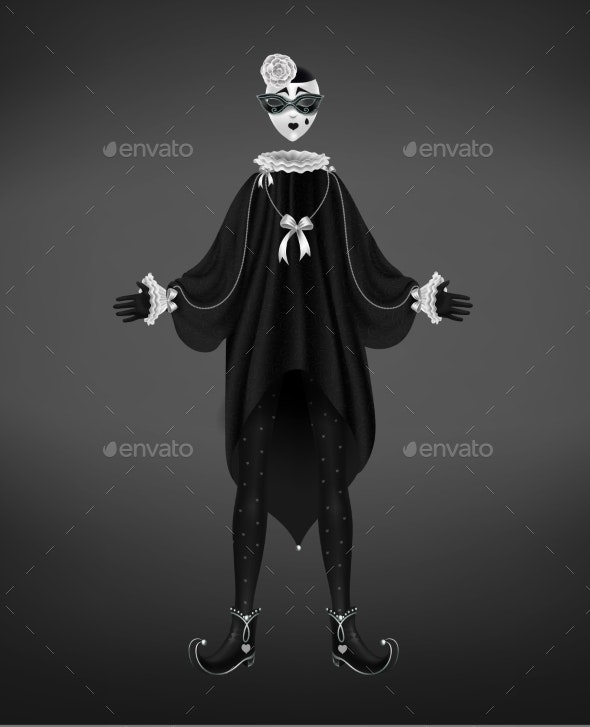 Pierrot Costume Italian Comedy Character - People Characters