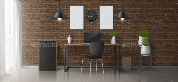 Modern Home Office Workplace Vector Interior - Backgrounds Decorative
