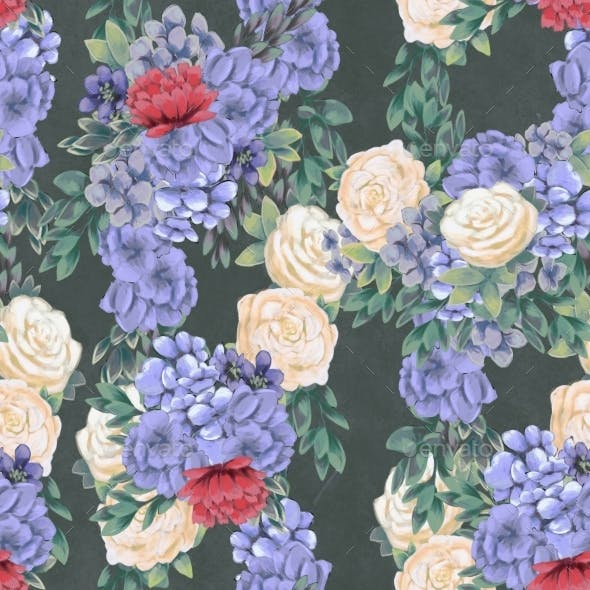 Watercolor Floral Seamless Pattern. Hand Painted