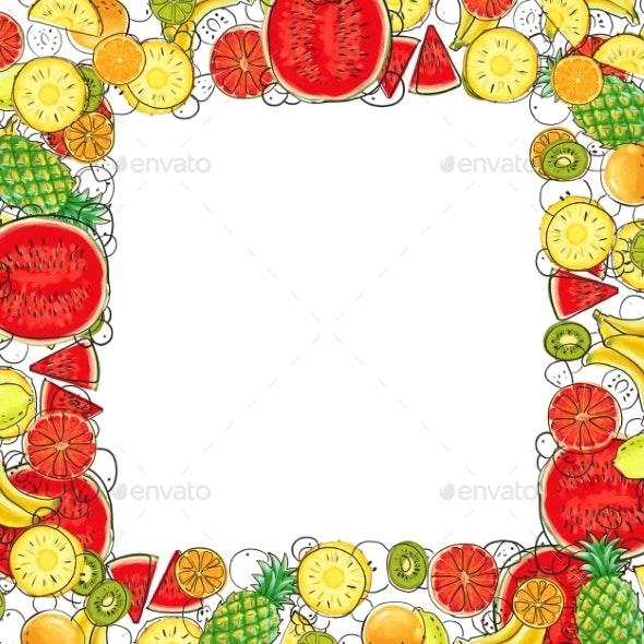 Hand Drawn Exotic Fruit Frame Isolated on White - Borders Decorative