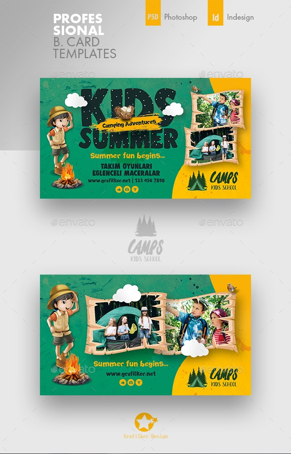 Kids Summer Camp Business Card Templates - Corporate Business Cards