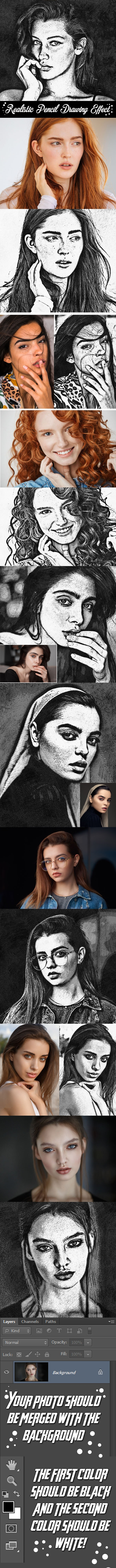 Realistic Pencil Drawing Effect - Photo Effects Actions