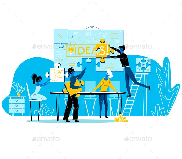 People Set Up Banner Separated on Puzzle Pieces - Concepts Business