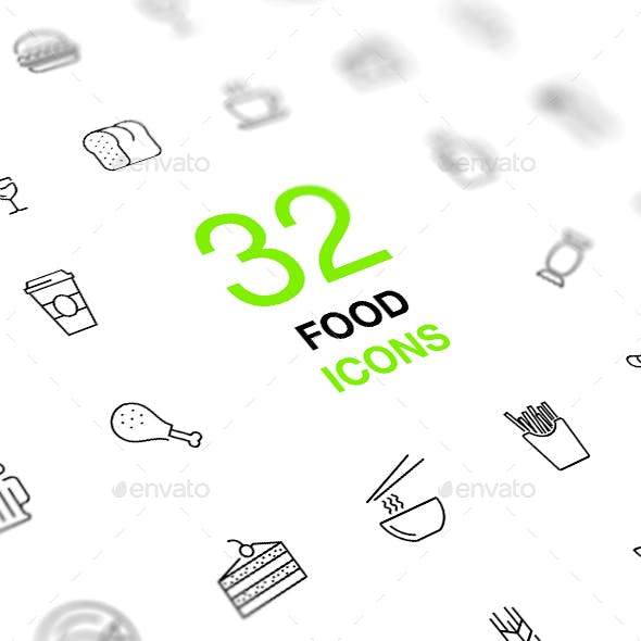 Food and Drinks Isolated Vector Icon Set