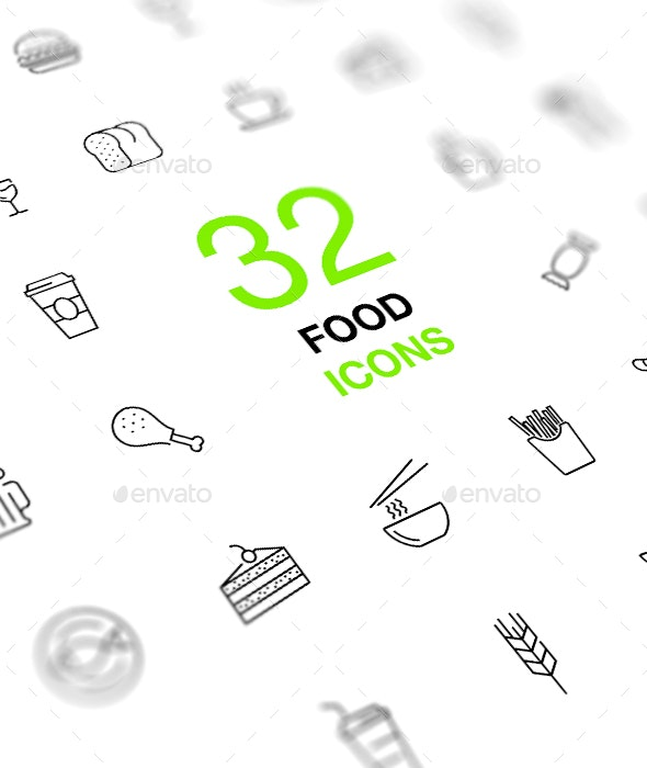 Food and Drinks Isolated Vector Icon Set - Food Objects