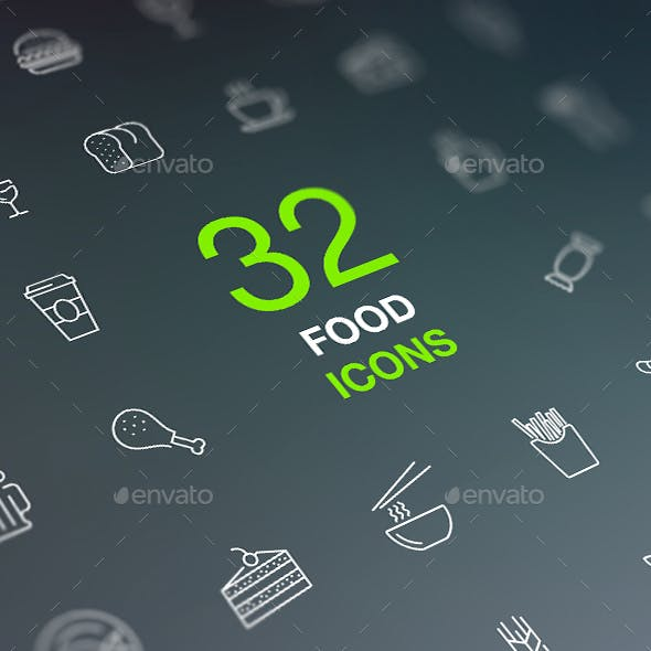 Food and Drinks Icon Set in Flat Modern Design Style