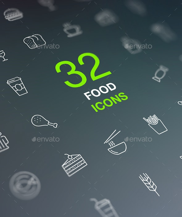 Food and Drinks Icon Set in Flat Modern Design Style - Food Objects