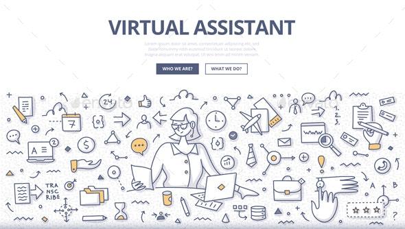 Virtual Assistant Doodle Concept - Concepts Business