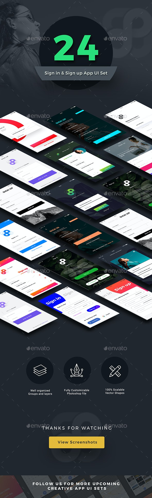 New Sign in Sign up Screens App UI Kit | 24 Screens - User Interfaces Web Elements