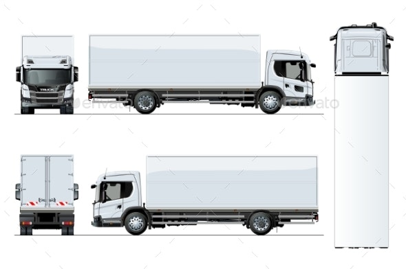 Vector Truck Template Isolated on White Background - Man-made Objects Objects
