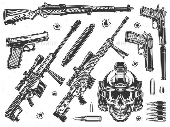 Vintage Military Elements Set - Miscellaneous Vectors