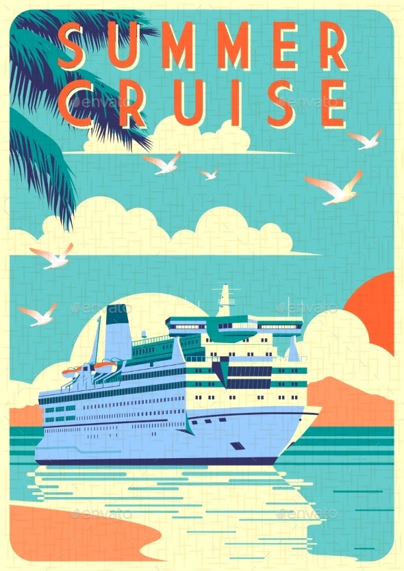 Art Deco Cruise Ship Vector Illustration - Man-made Objects Objects