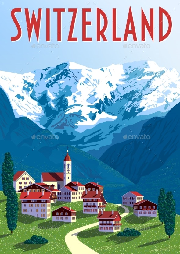 Switzerland Travel Poster - Buildings Objects