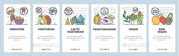Mobile App Onboarding Screens Food Diet - Food Objects