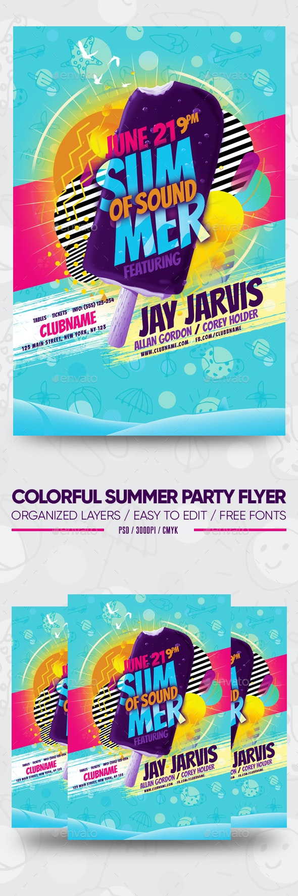 Colorful Summer Party Flyer - Clubs & Parties Events