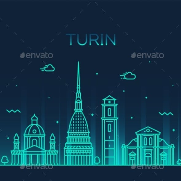 Turin Skyline Northern Italy Trendy Vector Style