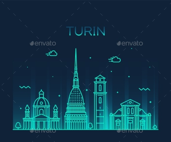 Turin Skyline Northern Italy Trendy Vector Style - Buildings Objects