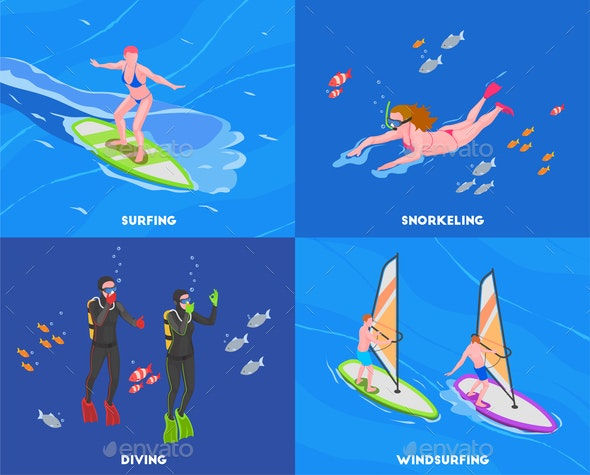 Water Sports Isometric Concept Set - Sports/Activity Conceptual