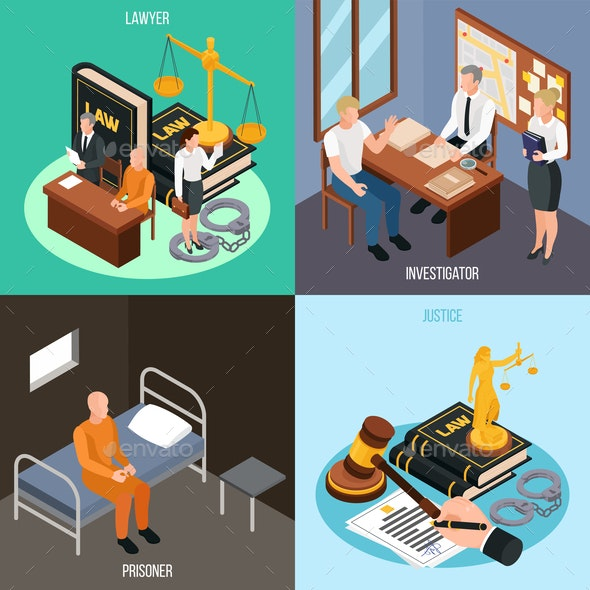 Law Justice Isometric Concept - Miscellaneous Vectors