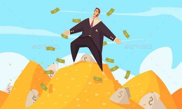 Rich Man Cartoon Composition - Business Conceptual