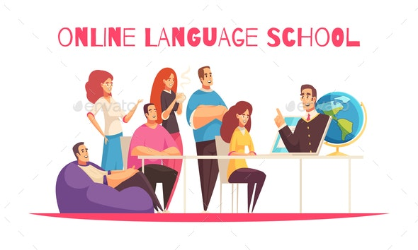 Online Language School Composition - Miscellaneous Vectors